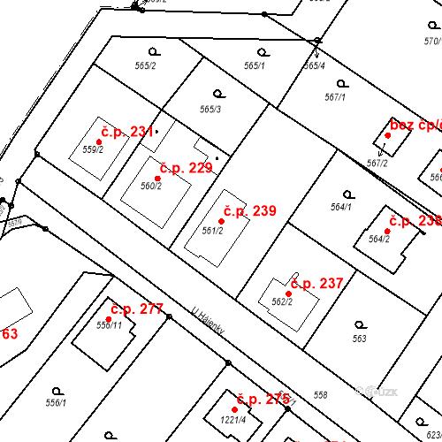 Katastrální mapa Stavební objekt Moravské Knínice 239, Moravské Knínice