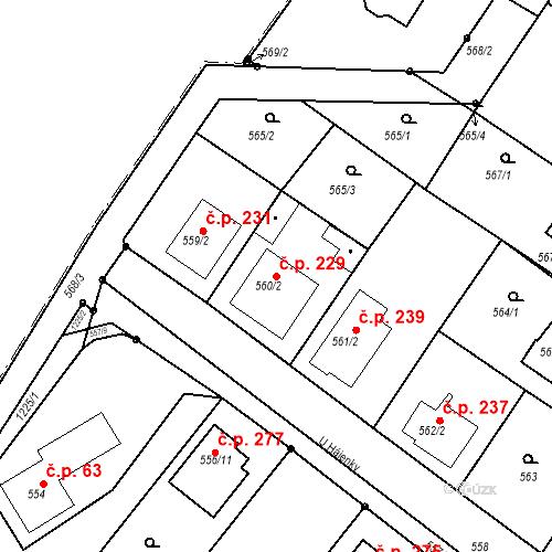 Katastrální mapa Stavební objekt Moravské Knínice 229, Moravské Knínice
