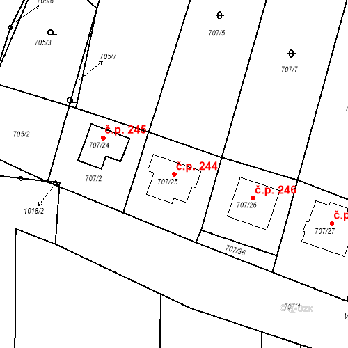 Katastrální mapa Stavební objekt Moravské Knínice 244, Moravské Knínice
