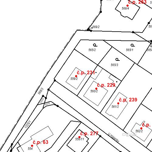 Katastrální mapa Stavební objekt Moravské Knínice 231, Moravské Knínice
