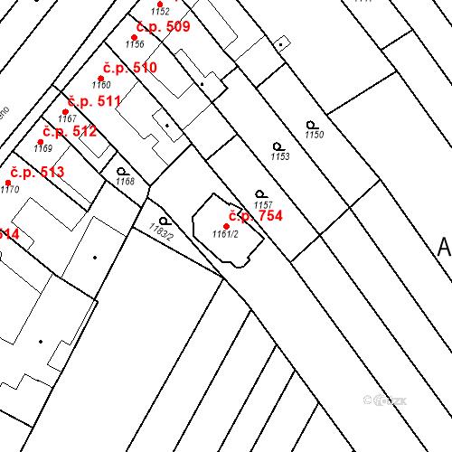 Katastrální mapa Stavební objekt Ořechov 754, Ořechov