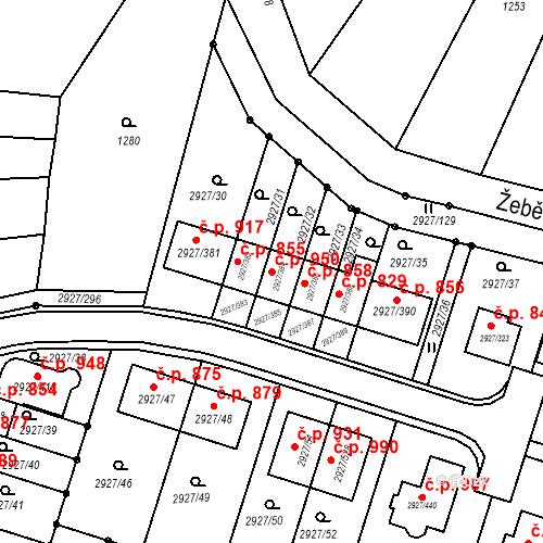 Katastrální mapa Stavební objekt Žebětín 950, Brno