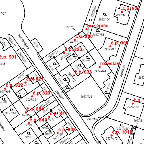 Katastrální mapa Stavební objekt Žebětín 833, Brno