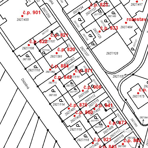 Katastrální mapa Stavební objekt Žebětín 871, Brno