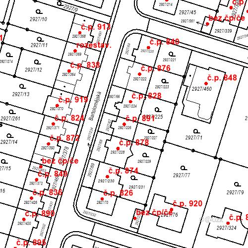 Katastrální mapa Stavební objekt Žebětín 891, Brno