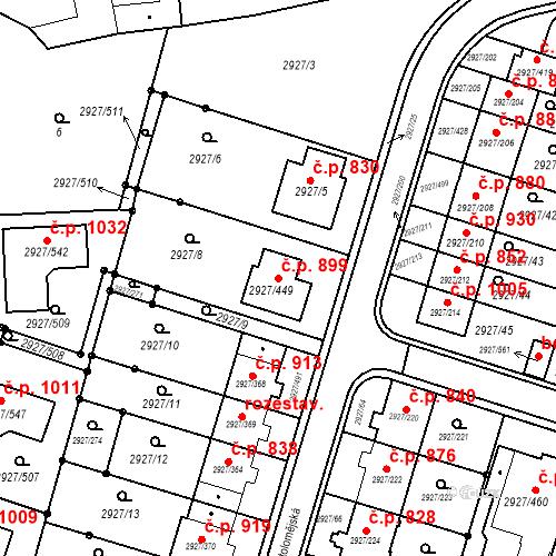 Katastrální mapa Stavební objekt Žebětín 899, Brno