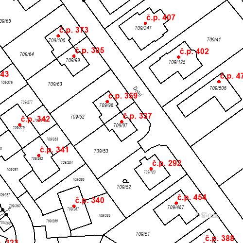 Katastrální mapa Stavební objekt Popůvky 337, Popůvky