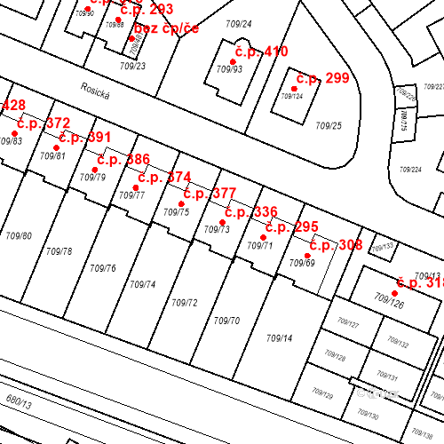 Katastrální mapa Stavební objekt Popůvky 336, Popůvky
