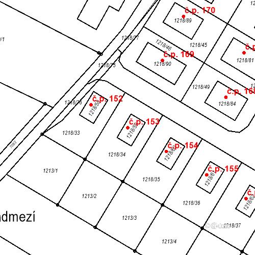 Katastrální mapa Stavební objekt Železné 153, Železné