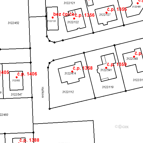 Katastrální mapa Stavební objekt Pohořelice 1358, Pohořelice