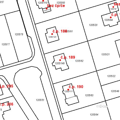 Katastrální mapa Stavební objekt Malešovice 189, Malešovice