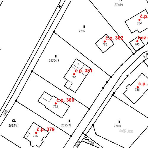 Katastrální mapa Stavební objekt Horní Sloupnice 381, Sloupnice