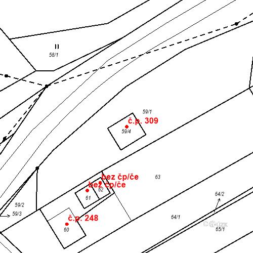 Katastrální mapa Stavební objekt Prštice 309, Prštice