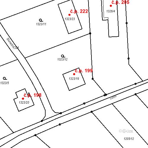 Katastrální mapa Stavební objekt Hradčany 199, Hradčany