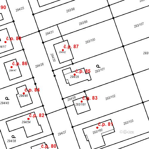 Katastrální mapa Stavební objekt Kupařovice 85, Kupařovice