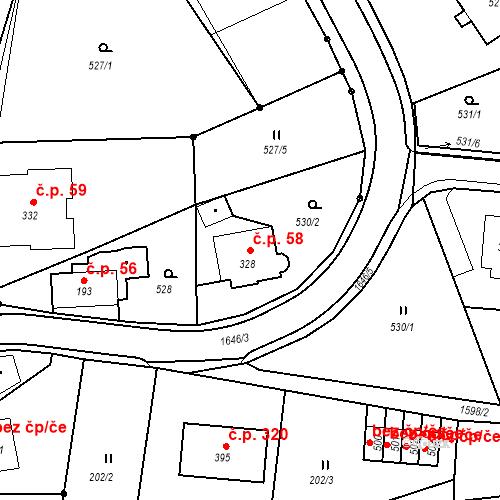 Katastrální mapa Stavební objekt Nový Hrádek 58, Nový Hrádek