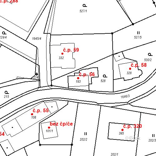 Katastrální mapa Stavební objekt Nový Hrádek 56, Nový Hrádek