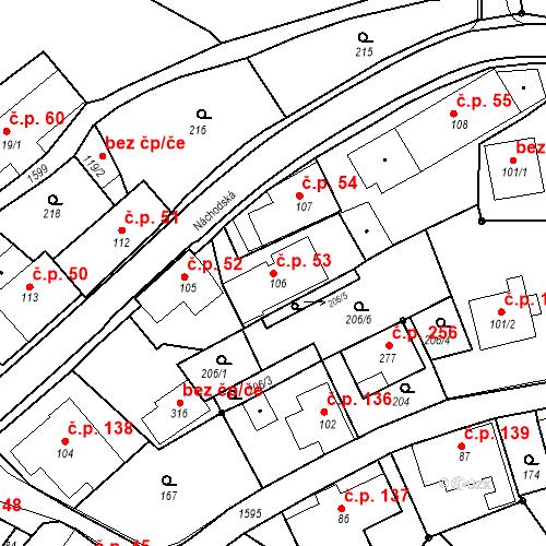 Katastrální mapa Stavební objekt Nový Hrádek 53, Nový Hrádek