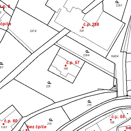 Katastrální mapa Stavební objekt Nový Hrádek 57, Nový Hrádek