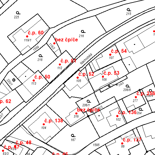 Katastrální mapa Stavební objekt Nový Hrádek 52, Nový Hrádek