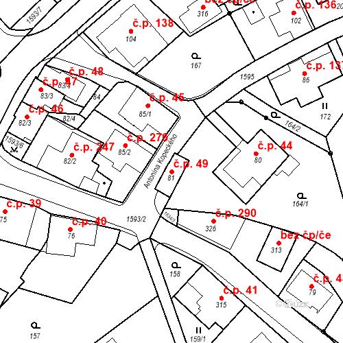 Katastrální mapa Stavební objekt Nový Hrádek 49, Nový Hrádek