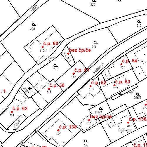 Katastrální mapa Stavební objekt Nový Hrádek 51, Nový Hrádek
