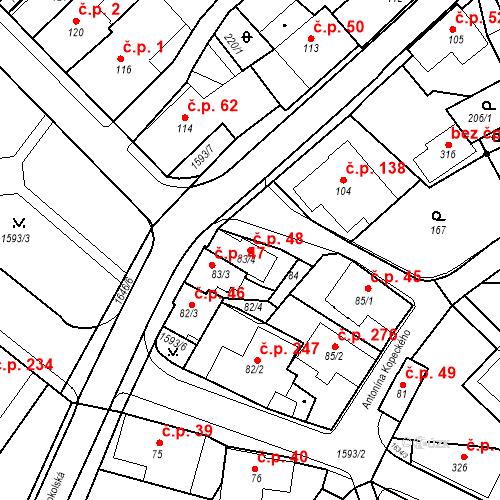 Katastrální mapa Stavební objekt Nový Hrádek 48, Nový Hrádek