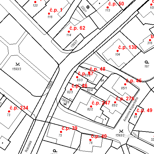 Katastrální mapa Stavební objekt Nový Hrádek 47, Nový Hrádek