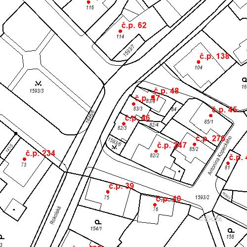 Katastrální mapa Stavební objekt Nový Hrádek 46, Nový Hrádek