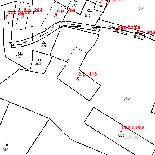 Katastrální mapa Stavební objekt Vamberk 113, Vamberk