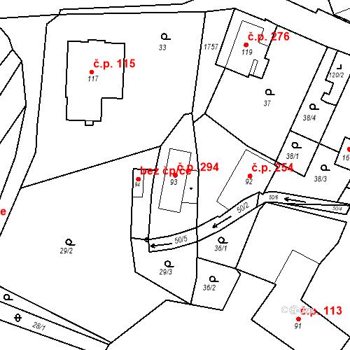 Katastrální mapa Stavební objekt Vamberk 294, Vamberk