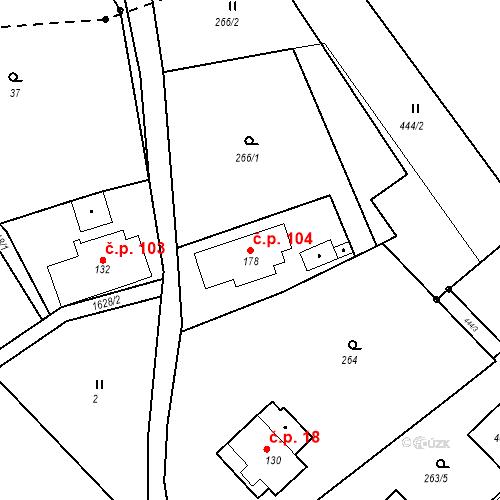 Katastrální mapa Stavební objekt Nový Hrádek 104, Nový Hrádek