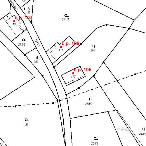 Katastrální mapa Stavební objekt Nový Hrádek 105, Nový Hrádek