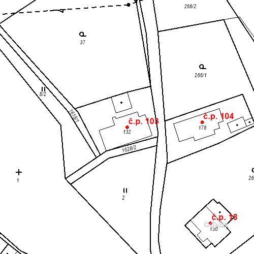 Katastrální mapa Stavební objekt Nový Hrádek 103, Nový Hrádek