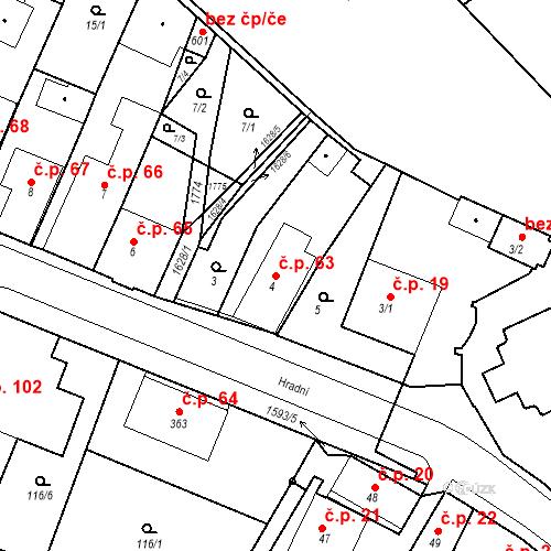 Katastrální mapa Stavební objekt Nový Hrádek 63, Nový Hrádek