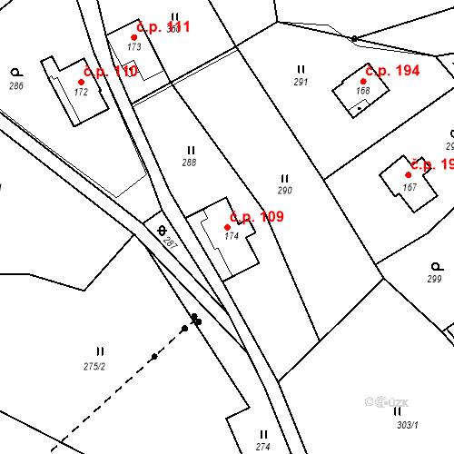 Katastrální mapa Stavební objekt Nový Hrádek 109, Nový Hrádek