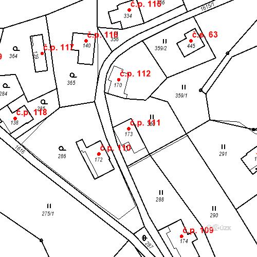 Katastrální mapa Stavební objekt Nový Hrádek 111, Nový Hrádek