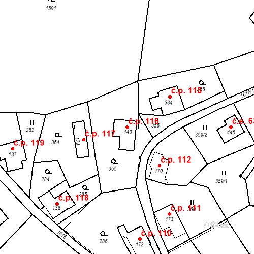 Katastrální mapa Stavební objekt Nový Hrádek 116, Nový Hrádek