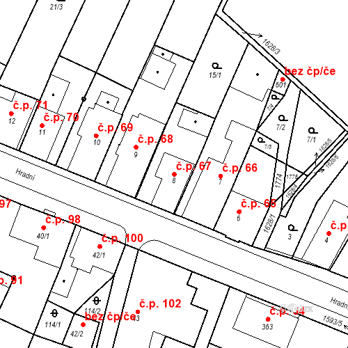 Katastrální mapa Stavební objekt Nový Hrádek 67, Nový Hrádek
