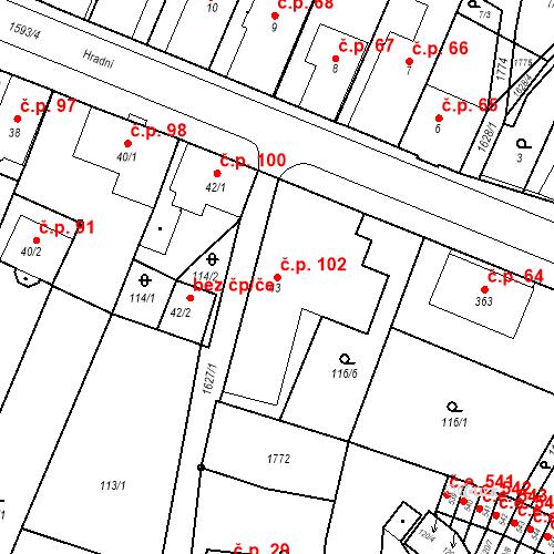 Katastrální mapa Stavební objekt Nový Hrádek 102, Nový Hrádek