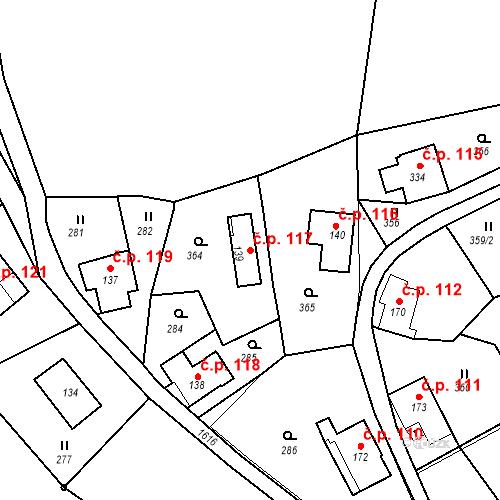 Katastrální mapa Stavební objekt Nový Hrádek 117, Nový Hrádek