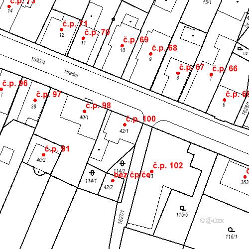 Katastrální mapa Stavební objekt Nový Hrádek 100, Nový Hrádek