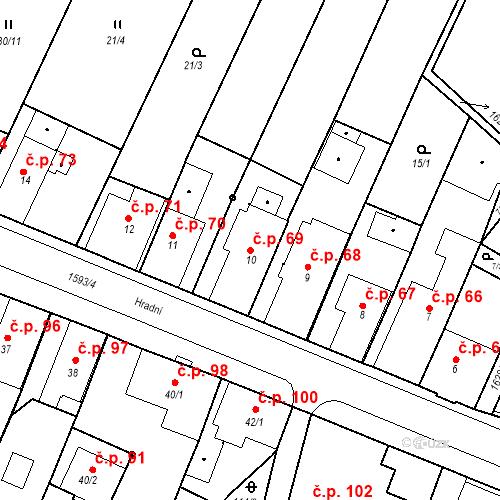 Katastrální mapa Stavební objekt Nový Hrádek 69, Nový Hrádek