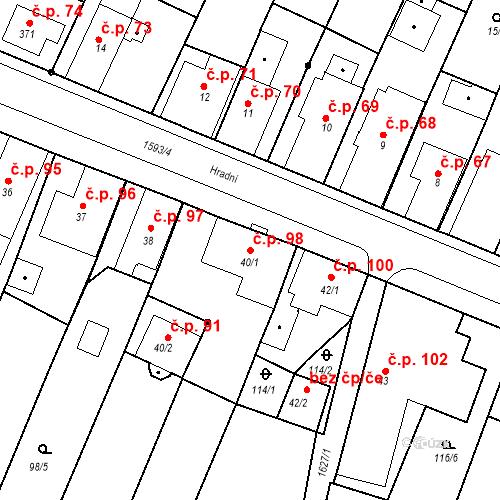 Katastrální mapa Stavební objekt Nový Hrádek 98, Nový Hrádek