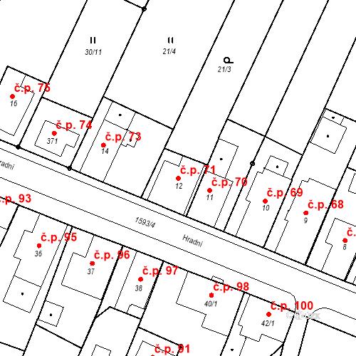 Katastrální mapa Stavební objekt Nový Hrádek 71, Nový Hrádek