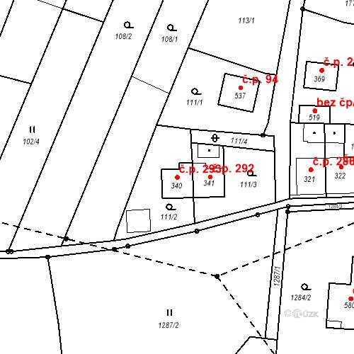 Katastrální mapa Stavební objekt Nový Hrádek 293, Nový Hrádek