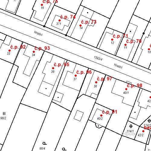 Katastrální mapa Stavební objekt Nový Hrádek 96, Nový Hrádek