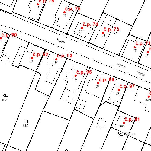 Katastrální mapa Stavební objekt Nový Hrádek 95, Nový Hrádek