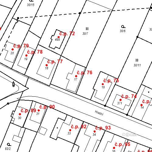 Katastrální mapa Stavební objekt Nový Hrádek 76, Nový Hrádek