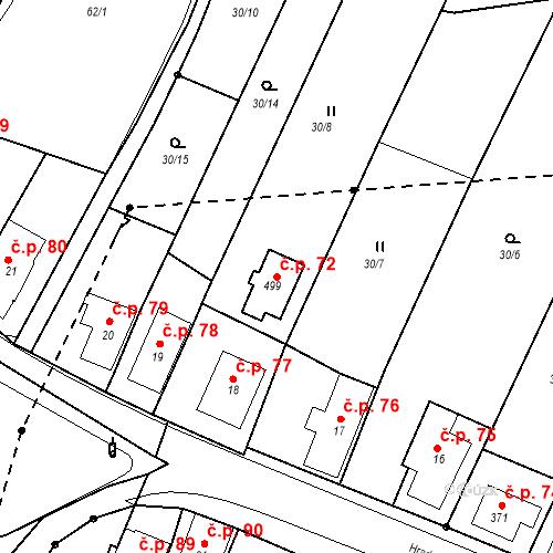 Katastrální mapa Stavební objekt Nový Hrádek 72, Nový Hrádek